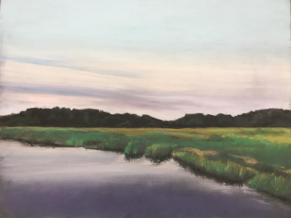 """Dusk on the Marsh, Pastel 23"""" x21"""""""