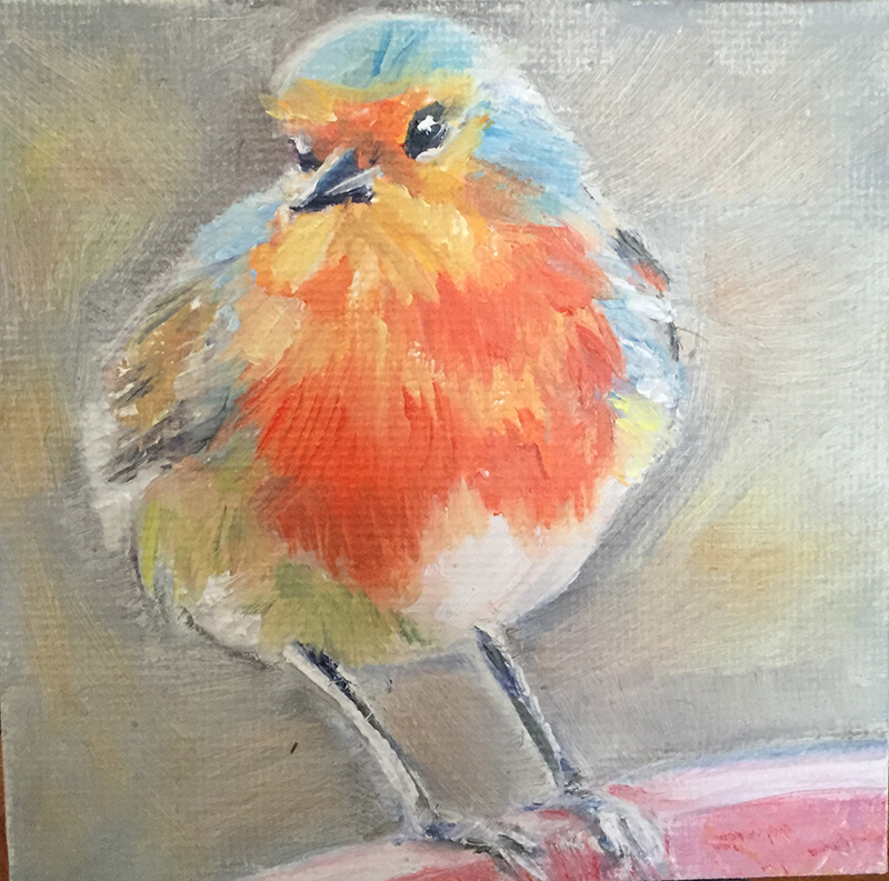 "Little Bird, 4' x 4"" Acrylic Painting on Canvas"