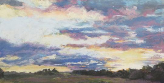 Sunset on the marsh, pastel