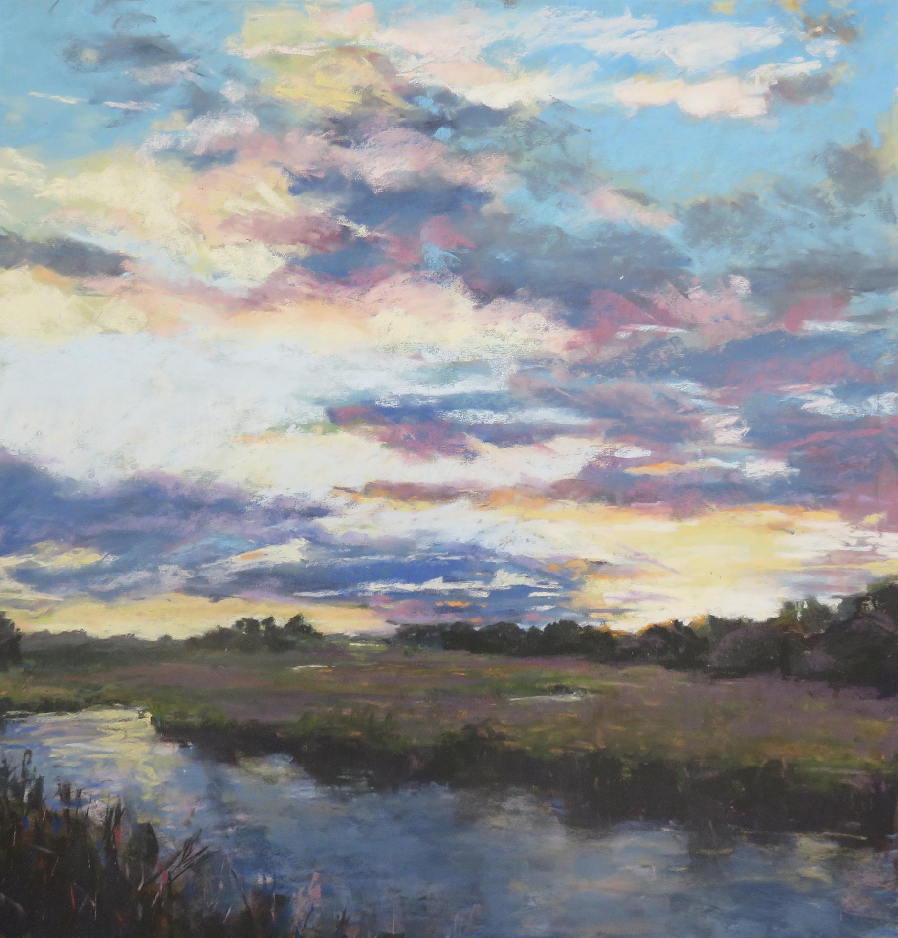 Sunset on the marsh, pastel